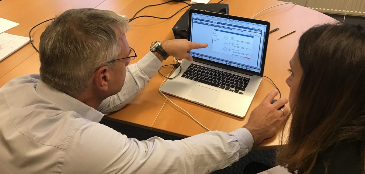 Visma employee observing and talking to a user