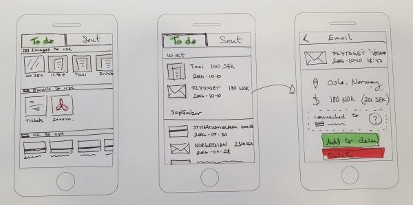 Example of wireframes that I did for the project