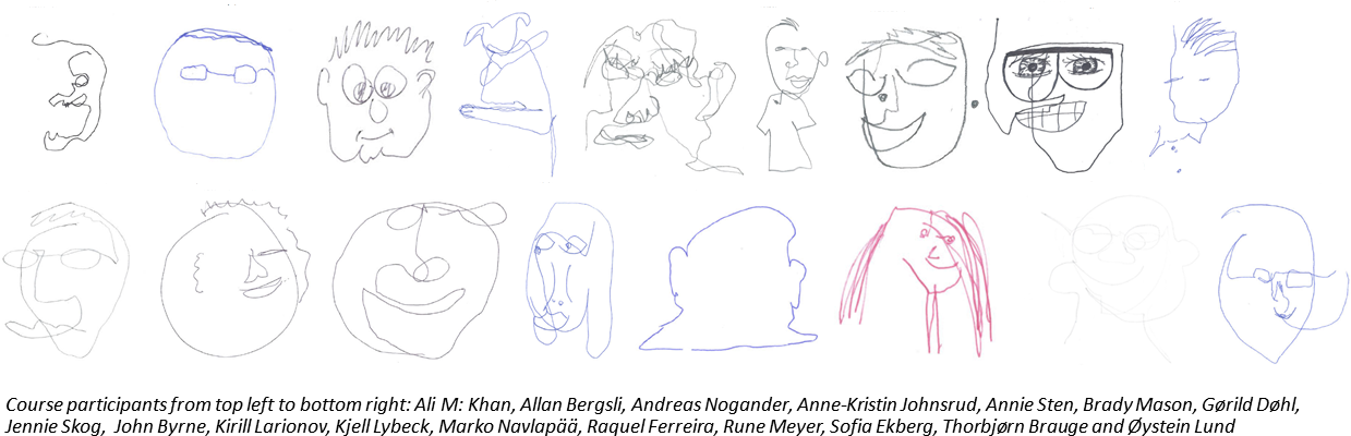 The course participants draw themselves and here we see the result