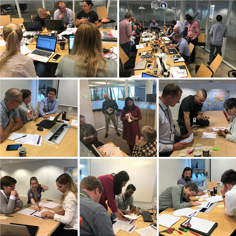 A collage of images where participants are working on different tasks