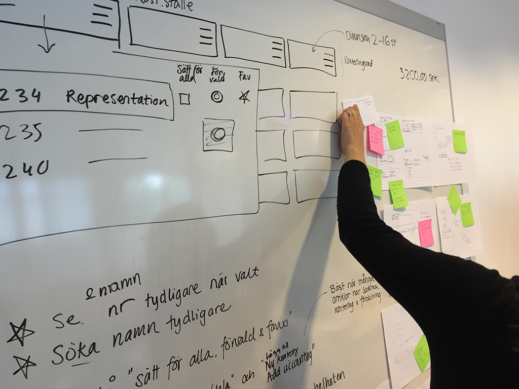 Man mapping out user journey on whiteboard