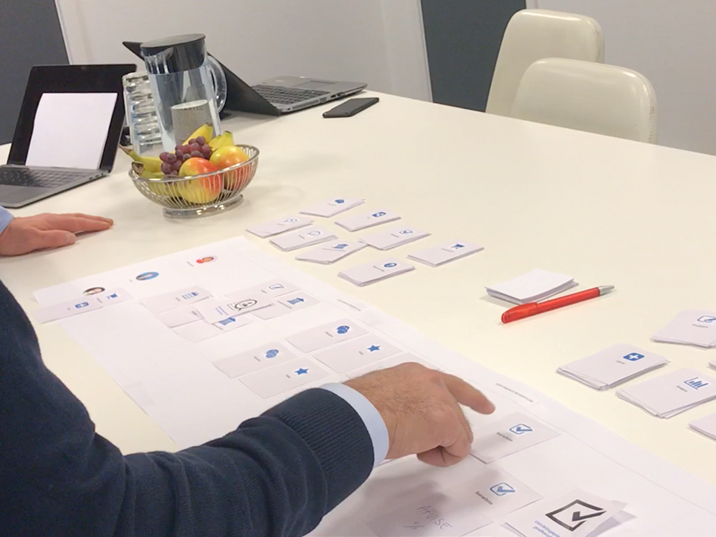 User journey mapping on paper