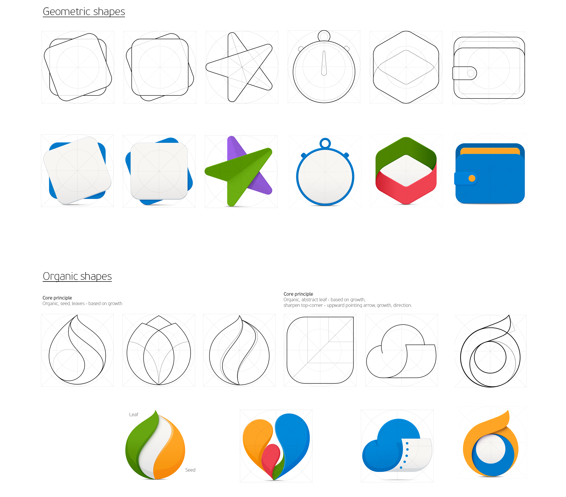 Examples of geometrical and organic shapes
