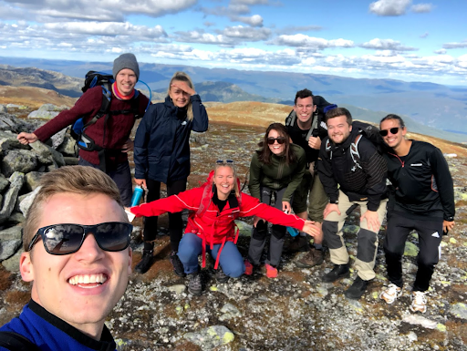 Management trainees on a mountain hike