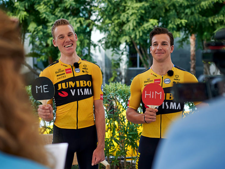 """Mike Teunissen and Dylan Groenewegen playing """"who is most likely"""" with Visma"""