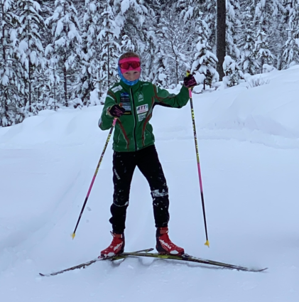 Olav (12 years old) out skiing