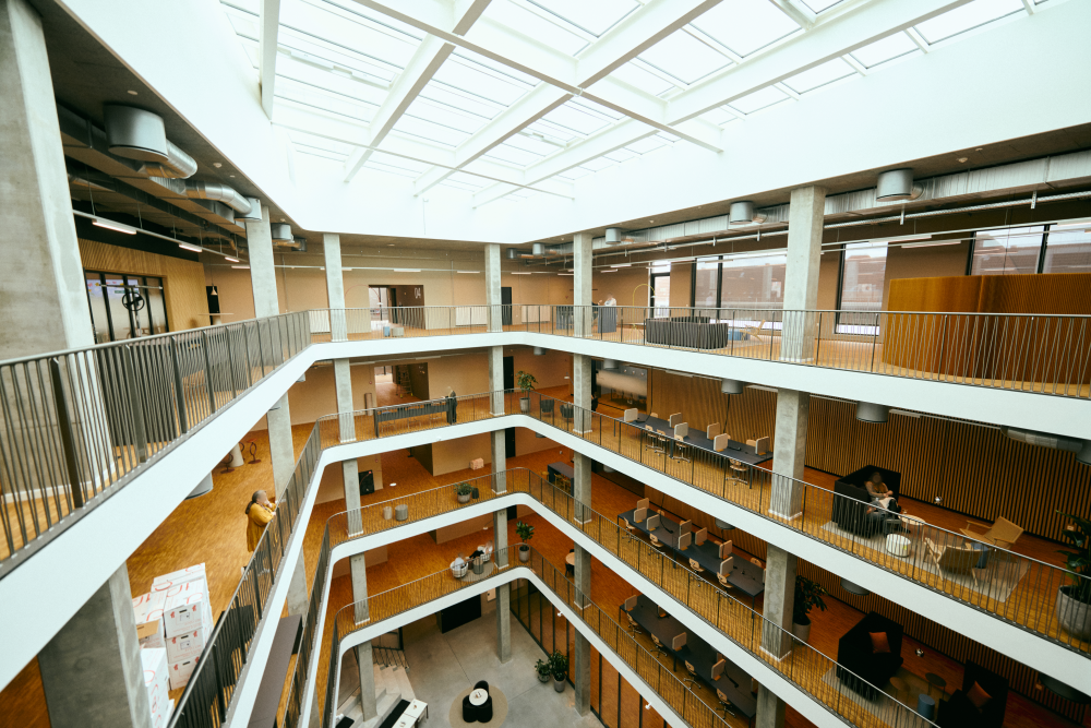 View of the inside atrium of the new office building
