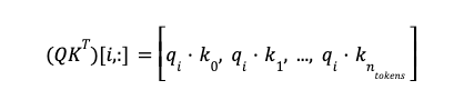 Math formula: Row i of Q times K transposed equals open bracket dot product of qi and k0 comma dot product of qi and k1 comma dot dot dot comma dot product of qi and k ntokens close bracket