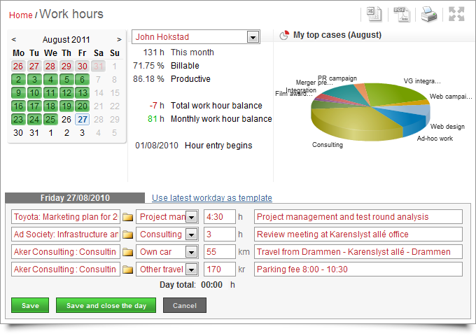 Online project management software - hours and time sheets
