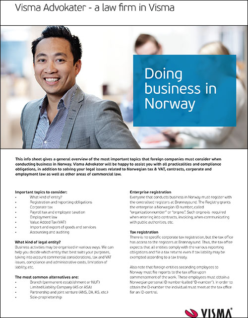 Doing business in Norway info sheet - A general overview of the most important topics you must consider when conducting business in Norway.